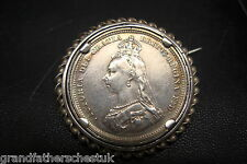 VICTORIAN SILVER SHILLING SPINNING ROTATING 1887 BROOCH COIN BEAUTIFUL