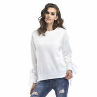 NEW Womens Plus Size Round Neck Solid Color Lace Up Strap Long Sleeve Casual Top