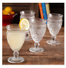 New The Pioneer Woman 12oz Footed Drinking Glasses Goblets Set of 4 Clear Servin