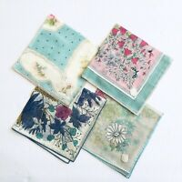 "Four Vintage Floral Hankies Handkerchiefs Stoffels NOS With Tags 11"" Square"