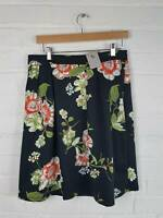 New With Tags Tu Black A line Floral Skirt Size UK 14