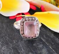 925 Sterling Solid Silver Natural ROSE QUARTZ Gemstone Ring Gift Jewelry AllSize