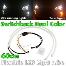 2X 60cm Switchback Universal Rubber LED Flexible DRL Turn Signal For BMW AV