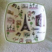 "222 FIFTH Tres Chic Paris 8"" Square Salad Luncheon Plate Eiffel Tower Fashion"