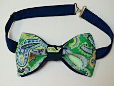 NEW Custom Mens Bow Tie Paisley Blue/Green Whale Pre-tied Adjustable Gift 4 Him