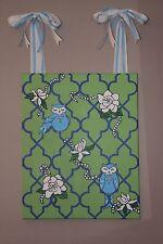 Southern Preppy Whimsical Owl Gardenia Flower Green & Blue Quatrefoil Wall Art