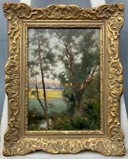 Ölbild Impressionist Blick durch Bäume England? Anonym Vintage um 1900 Antik