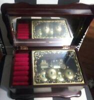 Rare Sanko Cherry Finished Chimming Bells Music Box