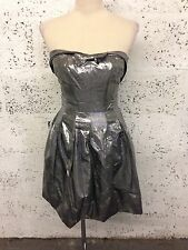 BNWT KAREN MILLEN METALLIC SILVER SKATER PARTY DRESS Boho Uk 10 C98