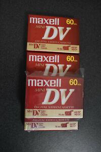 Lot of 4 - Maxell Mini DV Cassette Tapes 60 min Digital Video New Factory Sealed