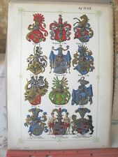 Vintage Print,PLATE 39,Swiss Coats of Arms,Jean Egli,Illuminated