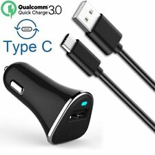Black Qualcomm Certified 6V/3A Quick Charge 3.0 USB Car Charger+ 3' Type-C Cable