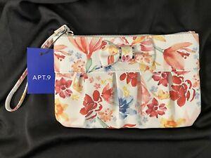 NWT Apt. 9 Floral Wristlet RFID Blocking w/Bow Purse Wallet Clutch Flowers $30