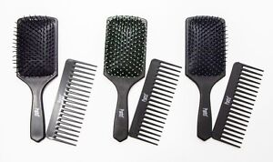 BRAND NEW PRO SOFT PADDLE HAIR BRUSH AND WIDE TOOTH COMB SET MASSAGE HEAD SCALP