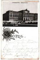 AK Gruss aus Leipzig - Universitätsbibliothek mit Kutschen - Litho 1899 Garte