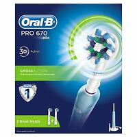 Oral-B PRO 670 CrossAction Electric Rechargeable Power Toothbrush with 2 Heads
