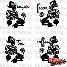 Curly Poodle Dog Kitchen Canister Vintage Inspired Retro Mid Century Vinyl Decal