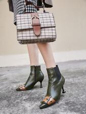Womens Pointy Toe Buckle Strap Side Zip Elastic Kitten Ankle Boots Casual Shoes