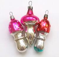 3 Antiker Russen alter Christbaumschmuck Glas Weihnachtsschmuck Pilze Ornaments