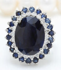 9.45CTW Natural Blue Sapphire and DIAMOND in 14K Solid White Gold Women Ring