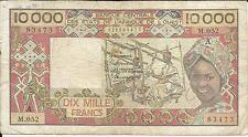 WEST AFRICAN STATES 10 000 FRANCS. F CONDITION. COTE IVOIRE.  4RW 12ABRIL