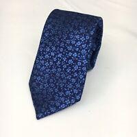 "Express Men's Skinny Narrow 100% Silk Blue Floral Neck Tie 2.5"" NWT"