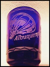 Shot Glass Albuquerque Hot Air Ballons Etched into Cobalt Blue Glass New 381