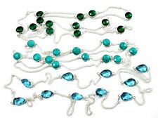 Classy Turquoise,Blue Topaz,Chrome Diopside Quartz Silver Plated 3 Pcs Chain