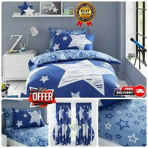 KIDS SUPER STAR BEDDING Reversible Quilt Soft DUVET COVER Fitted Sheet & Curtain