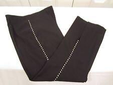 """SEXY Stretch Crop Pant w Rhinestone Side Stripe BLACK sz 6 33"""" from waist"""