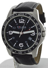 Golana Mens Aero Pro 300 Black Leather Strap Swiss Watch AE300-1