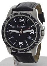 Golana Mens Aero Pro 300 Black Leather Strap Swiss Watch AE300-1