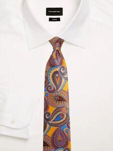 New Ermenegildo Zegna #176 Quindici Paisley Silk Tie, Yellow