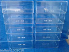 10x NEW CLEAR ACRYLIC DISPLAY CASE DIECAST MODEL F1 CAR BARGAIN STACKABLE 1/18