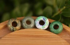 Set of 4 Green Gemstone Dreadlock Beads 5mm/6mm Hole (3/16 - 1/4 Inch) Jasper