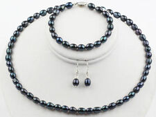 New 8-9mm Black Rice Freshwater Pearl Necklace Bracelet Earrings Jewelry Set