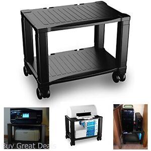 Home Office Printer Stand Wheels 2 Tiers Shelf Desk Machine Cart Rolling Storage