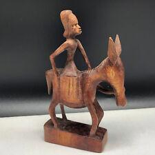 AFRICAN CARVED STATUE attie sculpture wood ivory coast donkey mule figurine art