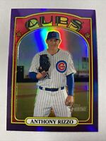 2021 Topps Heritage Purple Refractor Anthony Rizzo Chicago Cubs Card #175
