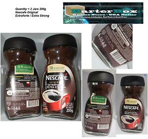 2 Jars Nescafe Coffee Original Extraforte Extra Strong 200g 100% Cafe Coffee