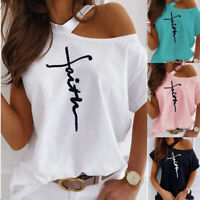 Plus Size Womens Summer Cold Shoulder Tee Top Short Sleeve Blouse Casual T-Shirt