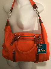 NWT The SAK Silverlake Orange Satchel Denim/Canvas Large Leather Trim Bag VHTF