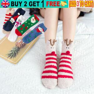 Womens Girls Knit Santa Elk Snowman Animal Slipper Bed Socks With Gift Box