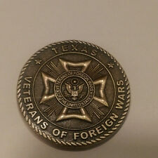 """In Recognition For Your Service VFW Texas  Challenge Coin 1.5 """" DIA"""