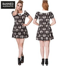 Banned Apparel Offbeat Gothic Cat Peter Pan Collared A-Line Black Short Dress