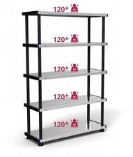 Schwerlastregal 185x120x45 Kunststoffregal 5 Metall-Böden max 600 kg Steckregal