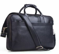 "Mens Tote Genuine Leather 13"" Laptop Briefcase Shoulder Messenger Bag Work Black"