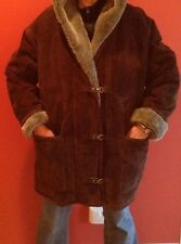 Women's Gallery Brown Shearling Winter Coat with Hood Size XL