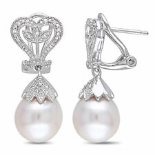 Amour Sterling Silver White Pearl and Diamond Dangle Earrings (10-10.5 mm)