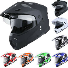 Dual Sport Dual Visor Motorcycle Motocross Full Face Helmet Black Blue Red Green